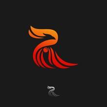Abstract Phoenix Logo Initial R Creative Design, Eagle Fire Logo Template Letter R, Falcon Logo Letter R, Hawk Premium Icon, Bird Modern Logo Vector