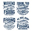 Weekend fishing hobby trip t-shirt prints. Tuna, mackerel and bream, carp fishes engraved vector. Trophy fishing sport, fisherman clothing print designs with vintage typography, sea and river fishes