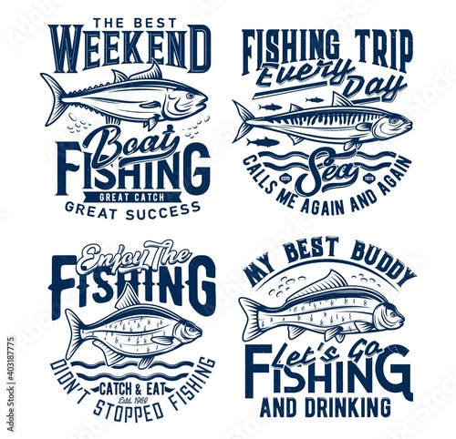 Fotografía Weekend fishing hobby trip t-shirt prints