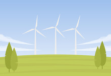 Vector Summer Landscape With Three Wind Energy Turbines
