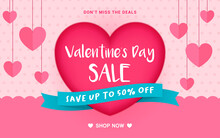 Valentine's Day Sale Banner Vector Illustration. Big Red Heart With Mini Hearts Hanging Decoration