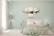 Colorful Bedroom Interior. Scandinavian Design. 3D Illustration