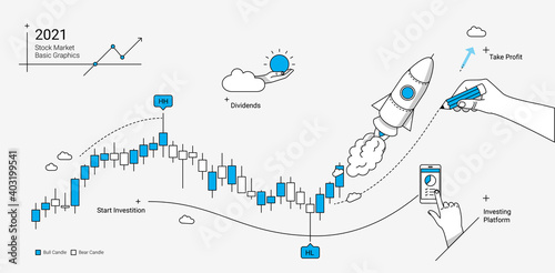 Obraz Stock market trading platform illustration with rocket, candle chart and technical analysis symbols. Modern linear graphic style. - fototapety do salonu
