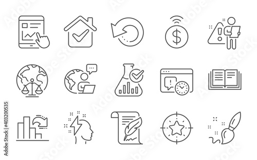 Billede på lærred Decreasing graph, Project deadline and Education line icons set
