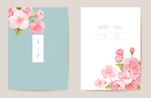 Realistic Wedding Cherry Floral Invitation. Exotic Sakura Flowers, Leaves Card. Botanical Save The Date Template