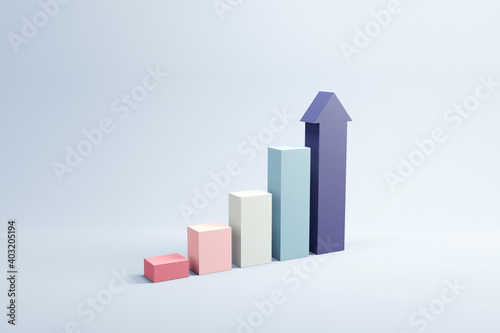 Growing bars graphic with rising arrow, 3d render, progress way and forward achievement creative concept
