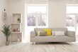 White living room with sofa and winter landscape in window. Scandinavian interior design. 3D illustration