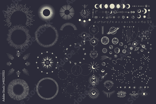Fotomural Vector illustration set of moon phases