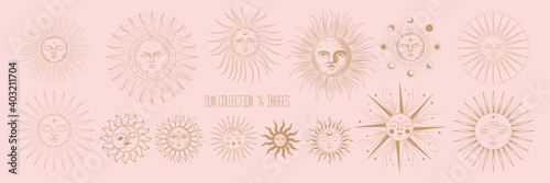 Vector illustration set of moon phases. Different stages of moonlight activity in vintage engraving style. Zodiac Signs - fototapety na wymiar