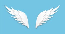 Origami Wings. White Paper Cut Angel Logo, Flying Feathers Decoration Of Heaven Bird, Layered Papercut Shape, Freedom Symbol, Heraldic Vector Isolated On Blue Background Emblem