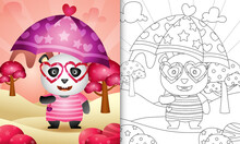 Coloring Book For Kids With A Cute Panda Holding Umbrella Themed Valentine Day