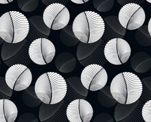 Round Feathers Floating Abstract Seamless Silver Shades
