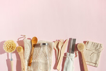 Zero Waste Eco Friendly Cleaning Kitchen Concept. Wooden Brushes, Drinking Straw, Cotton Bags