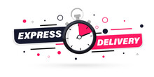 Express Delivery With Stopwatch Icon For Apps And Website. Fast Delivery. Timer And Express Delivery Inscription. Urgent Shipping Services.Delivery Quick Move. Fast Distribution Service 24/7