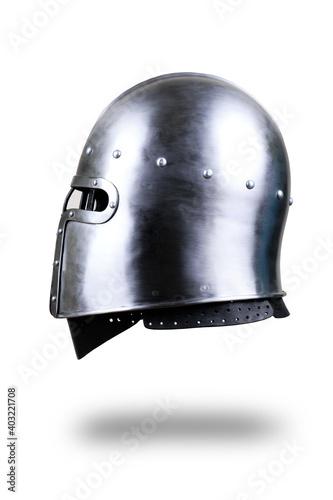 Fotografering Knight helmet on white.