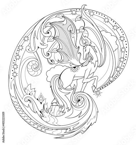 Black and white page coloring book. Fantasy illustration of Pegasus from ancient legend. Fairyland horse. Print for fabric and tattoo. Worksheet for drawing and meditation for children and adults.