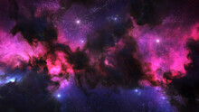Outer Space Background With Colorful Nebula Clouds And Stars. Galaxy Astronomy Image Showing The Universe Beyond The Milky Way.