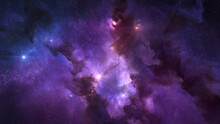 Cosmos Background With Colorful Nebula Clouds And Stars. Galaxy Astronomy Image Showing An Interstellar Celestial View Of Outer Space Beyond The Milky Way.