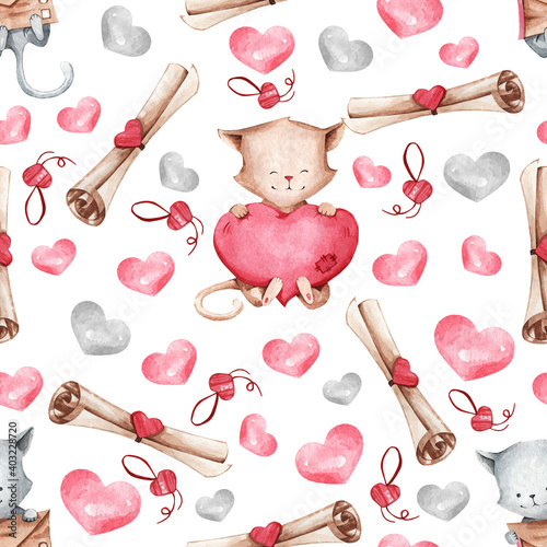 pattern for the design of children's clothing and blankets. A cute illustration of cats and hearts Suitable for decorating gifts on Valentine's Day