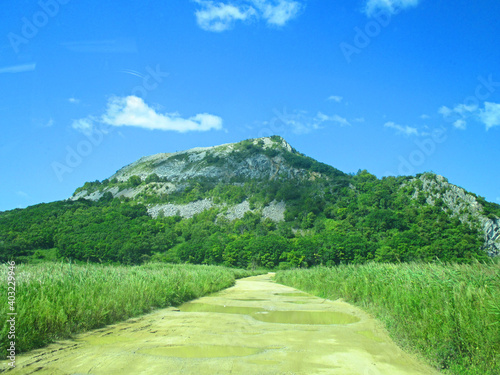 Obraz na plátně Beautiful landscape of green scenery in springtime with view hills, Dirt road pa