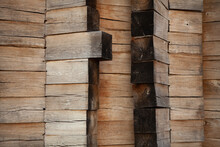 Wooden Wall Without Nails. Log House Square Logs For The Home. Old Wooden Wall.
