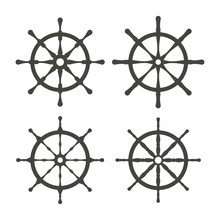 Monochrome Steering Boat Wheels Set Icon. Travel Concept. Rudder, Helm Symbol. Template For Mobile, Website App Or Infographics Materials.