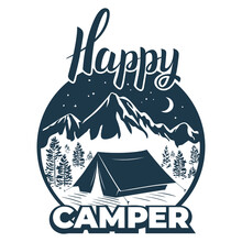 Happy Camper. Camp, Tent On The Mountainside, Winter. Calligraphic, Lettering Is A Happy Tourist. Vintage Typographic Design For For Shirt Or Print, Stamp Or Tourist Logo, Isolated On A White