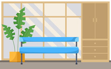 Office Reception Interior And Waiting Area With A Wardrobe, Sofa And Indoor Flower In A Pot. Flat Style, Vector Illustration. Hospital Corridor Interior, Medical Clinic Hall. Empty Hallway With Bench