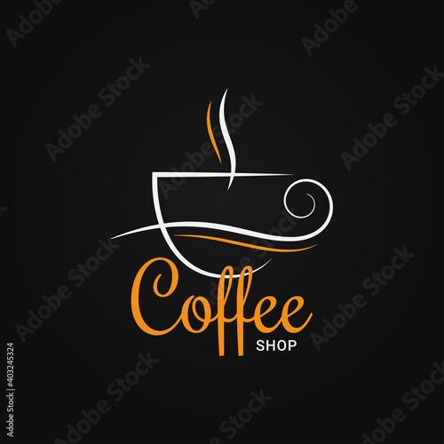 Obraz Coffee cup logo on black design background - fototapety do salonu