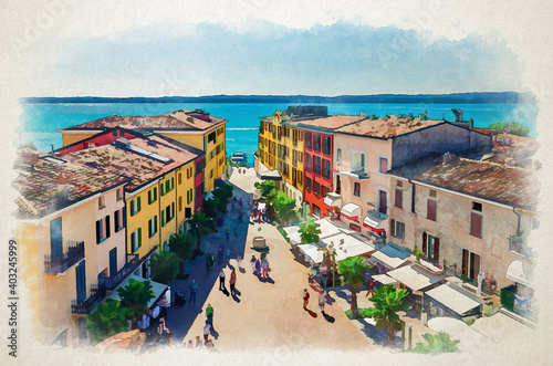 Watercolor drawing of Sirmione aerial panoramic view of historical centre pedestrian street Castle square piazza Castello, multicolored colorful buildings