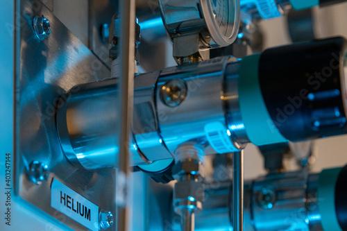Oxygen helium nitrogen argon pipes in a research labaoratory Fotobehang