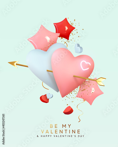 Valentines day holiday gift card. Couple pink and blue heart shaped balloons pierced by cupids golden arrow. Realistic helium ballon shape stars, red rose color. Festive 3d object. Romantic background