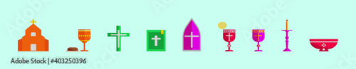 Foto set of eucharist cartoon icon design template with various models