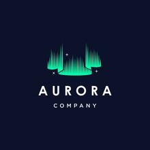 Green Aurora Borealis Logo, Modern Northern Lights Sky Aurora And Stars Icon Logo Design Illustration Background, Beautiful Night View Of Iceland Vector