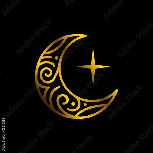 Canvas elegant crescent gold moon and star logo design line icon vector in luxury style