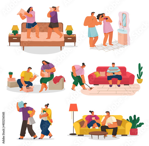Fototapeta Life of a young couple, set of scenes from everyday household chores, shopping at the store, cleaning the house and rest. People activity, daily routine vector illustration on a white background obraz na płótnie