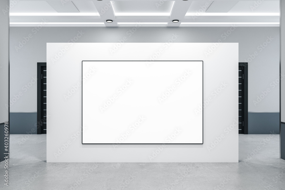 Fototapeta Modern concrete interior with blank banner on wall.