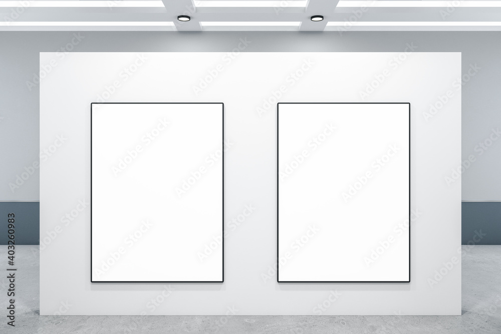 Fototapeta Minimalistic gallery interior with two blank posters on wall
