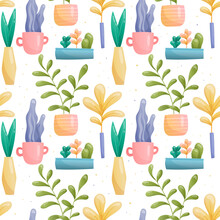 Seamless Vector Pattern Of Images Of Domestic Fairy Fantastic Plants In Pots And Vases Of Various Unusual Shapes And Bright Colors With Reflection. Large And Small Leaves Painted In Gradient, Cacti.