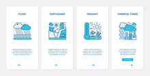 Eco Environment Problem, Disaster Ecocatastrophe Vector Illustration. UX, UI Onboarding Mobile App Page Screen Set With Line Nature Ecology Catastrophy, Flood Earthquake Drought Chemical Fumes Symbol