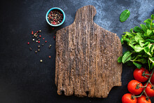 Wooden Kitchen Cutting Board For Preparing Meals Or Serving A Ready Meal Ready To Cook And Eat On The Table For Healthy Meal Snack Outdoor Top View Copy Space For Text Food Background Rustic Image