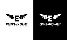 Letter E With Wings. Template For Logo  Label  Emblem  Sign  Stamp. Vector Illustration.