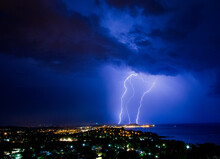 Thunder And Lightning Over Calonge Spain