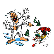 Yetti Snowman Laughing At A Broken Snowboarder Who Had Accidents, Winter Sport Joke, Color Cartoon
