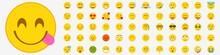 Emoji Set. Flat Emoticon Collection. Yellow Emoji Vector Icons. Isolated Character Symbol. Smile, Sad, Happy, Angry Emoji. Emoticon Expression.