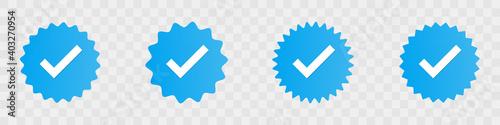 Obraz Profile verification check marks icons. Vector illustration - fototapety do salonu