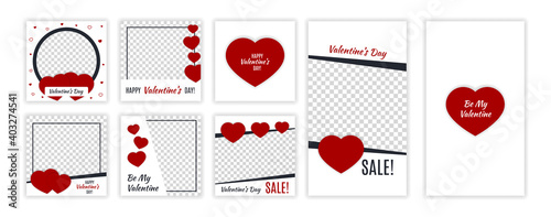 Valentine's day editable template for social networks stories and posts. Instagram design backgrounds