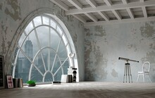 Loft Style Attic Interior Huge Arched Window
