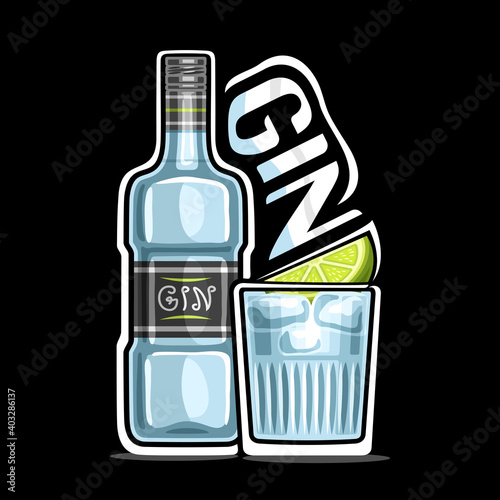Vector logo for Gin, outline illustration of blue bottle with decorative label and full glass of chilled dry gin tonic with lemon slice, placard with unique lettering for word gin on dark background.