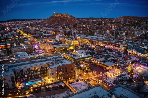 Aerial View of Castle Rock, Colorado with Christmas Lights at Dusk